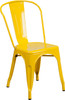 "Indoor/Outdoor Cafe Metal 5 Piece set- 31.5"" Square Table set with 4 Stack Chairs-Yellow Chair"