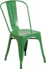 "Indoor/Outdoor Cafe Metal 5 Piece set- 31.5"" Square Table set with 4 Stack Chairs-Green Chair"