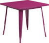 "Indoor/Outdoor Cafe Metal 5 Piece set- 31.5"" Square Table set with 4 Stack Chairs-Purple Table"