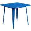"Indoor/Outdoor Cafe Metal 5 Piece set- 31.5"" Square Table set with 4 Stack Chairs-Blue Table"