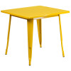 "Indoor/Outdoor Cafe Metal 5 Piece set- 31.5"" Square Table set with 4 Stack Chairs-Yellow Table"