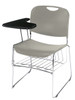 8500 Series High-Tech Ultra Compact Plastic Stacking Chair By National Public Seating-Gunmetal Gray with Tablet Arm and Book Rack