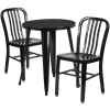 "Metal Indoor/Outdoor Cafe Table Set with Vertical Slat Chairs-24"" Round with 2 Chairs-Black"