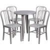 "Metal Indoor/Outdoor Cafe Table Set with Vertical Slat Chairs-24"" Round with 4 Chairs-Silver"