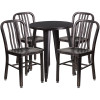 "Metal Indoor/Outdoor Cafe Table Set with Vertical Slat Chairs-24"" Round with 4 Chairs-Antique Gold"