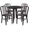 "Metal Indoor/Outdoor Cafe Table Set with Vertical Slat Chairs-30"" Round with 4 Chairs-Antique Gold"