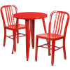 "Metal Indoor/Outdoor Cafe Table Set with Vertical Slat Chairs-24"" Round with 2 Chairs-Red"