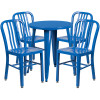 "Metal Indoor/Outdoor Cafe Table Set with Vertical Slat Chairs-24"" Round with 4 Chairs-Blue"
