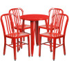 "Metal Indoor/Outdoor Cafe Table Set with Vertical Slat Chairs-24"" Round with 4 Chairs-Red"
