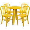 "Metal Indoor/Outdoor Cafe Table Set with Vertical Slat Chairs-24"" Round with 4 Chairs-Yellow"