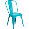 Indoor/Outdoor Metal Tolix Stacking Chairs-Teal Blue