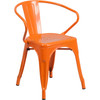Indoor/Outdoor Metal Bistro Tolix Stacking Chairs with Arms-Orange