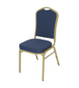 Classic Series Crown Back Fabric Upholstered Banquet Stack Chair-Navy-Gold Dot with Gold Frame