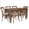 "60"" x 38""x Antique Rustic Farm Table Set with 4 or 6 Cross Back Chairs and Cushions (6 Cross Back Chairs)"