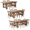 7 Ft Antique Rustic Farm Table Set with 4, 6, or 8 Cross Back Chairs and Cushions