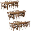 8 Ft Antique Rustic Farm Table Set with 6, 8, or 10 Cross Back Chairs and Cushions