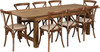 8 Ft Antique Rustic Farm Table Set with 6, 8, or 10 Cross Back Chairs and Cushions-8 Cross Back Chairs