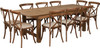 8 Ft Antique Rustic Farm Table Set with 6, 8, or 10 Cross Back Chairs and Cushions-10 Cross Back Chairs