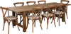 9 Ft Antique Rustic Farm Table Set with 8, 10, or 12 Cross Back Chairs and Cushions-8 Chairs