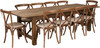 9 Ft Antique Rustic Farm Table Set with 8, 10, or 12 Cross Back Chairs and Cushions-10 Chairs