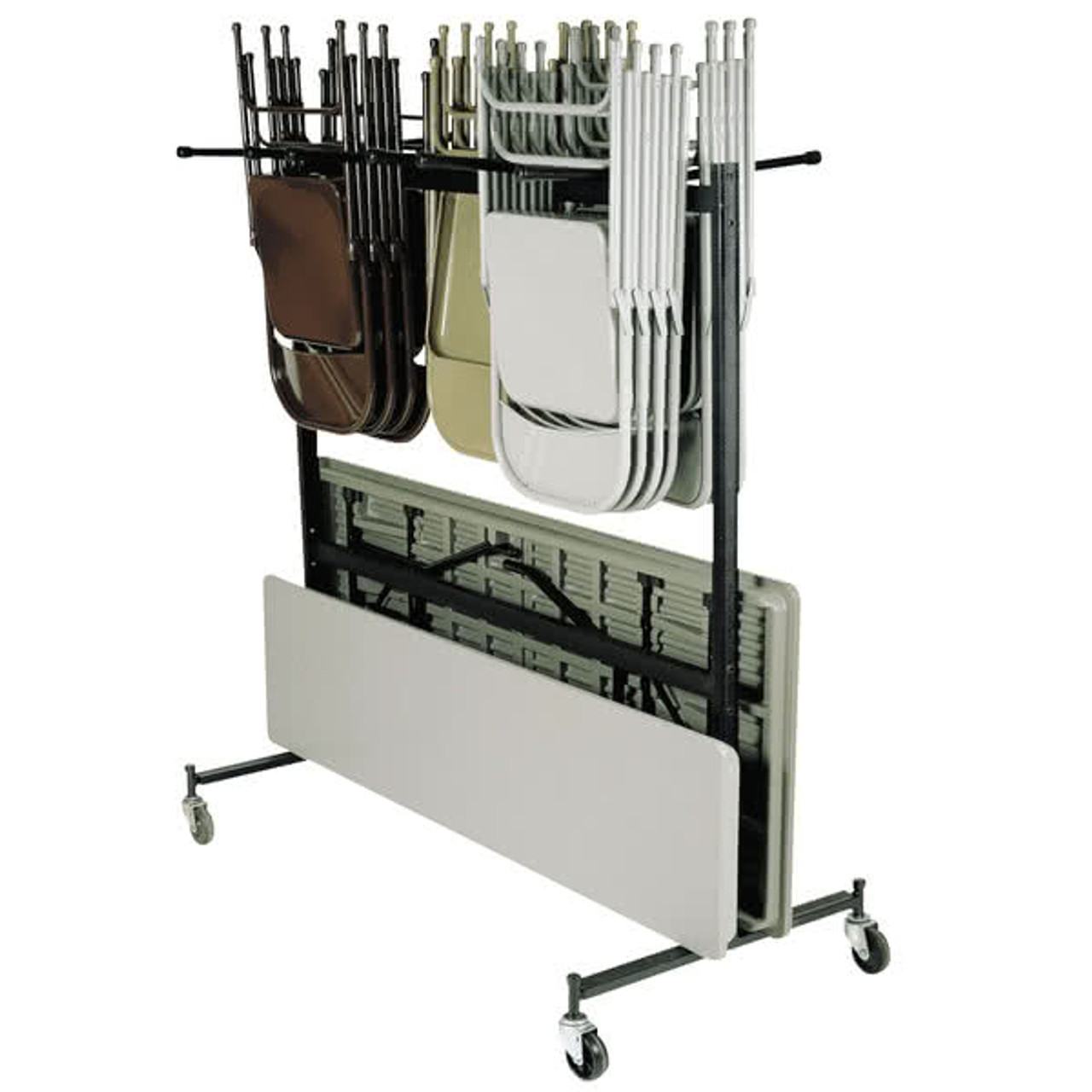 Hanging Folding Chair And Table Storage And Transport Cart Holds Up To 42 Chairs And 10 Tables Foldingchairsandtables Com
