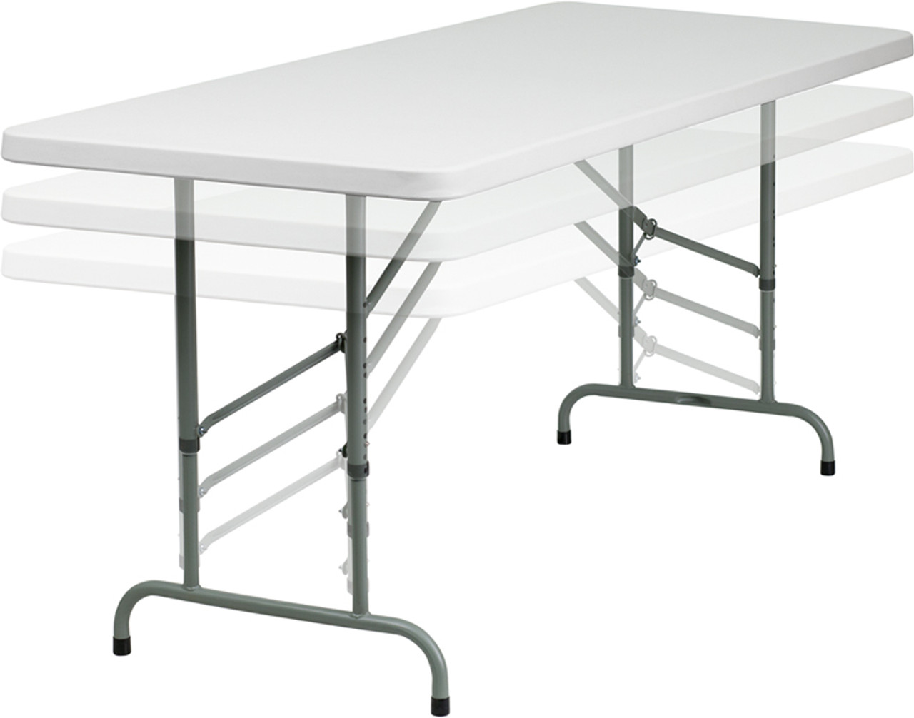 Rhinolite 30 X72 6 Ft Rectangle Plastic Folding Table Adjustable Height 22 32 H Solid One Piece Top Locking Steel Frame Foldingchairsandtables Com