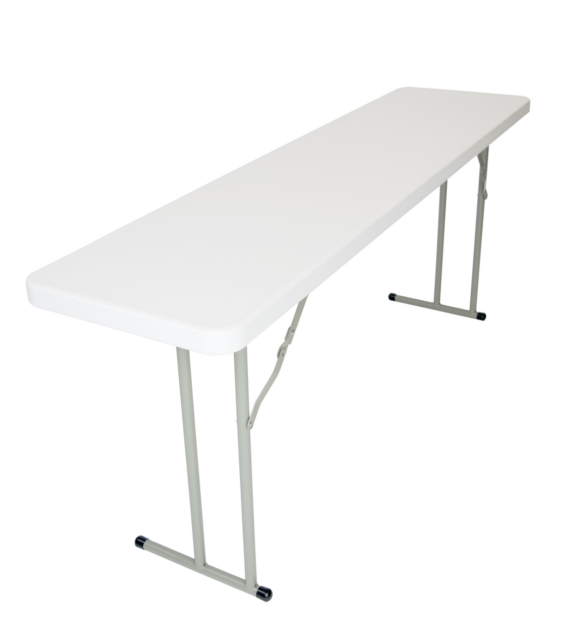 Rhinolite 18 X96 8 Ft Seminar Plastic Folding Table Solid One Piece Top Locking Steel Frame Foldingchairsandtables Com