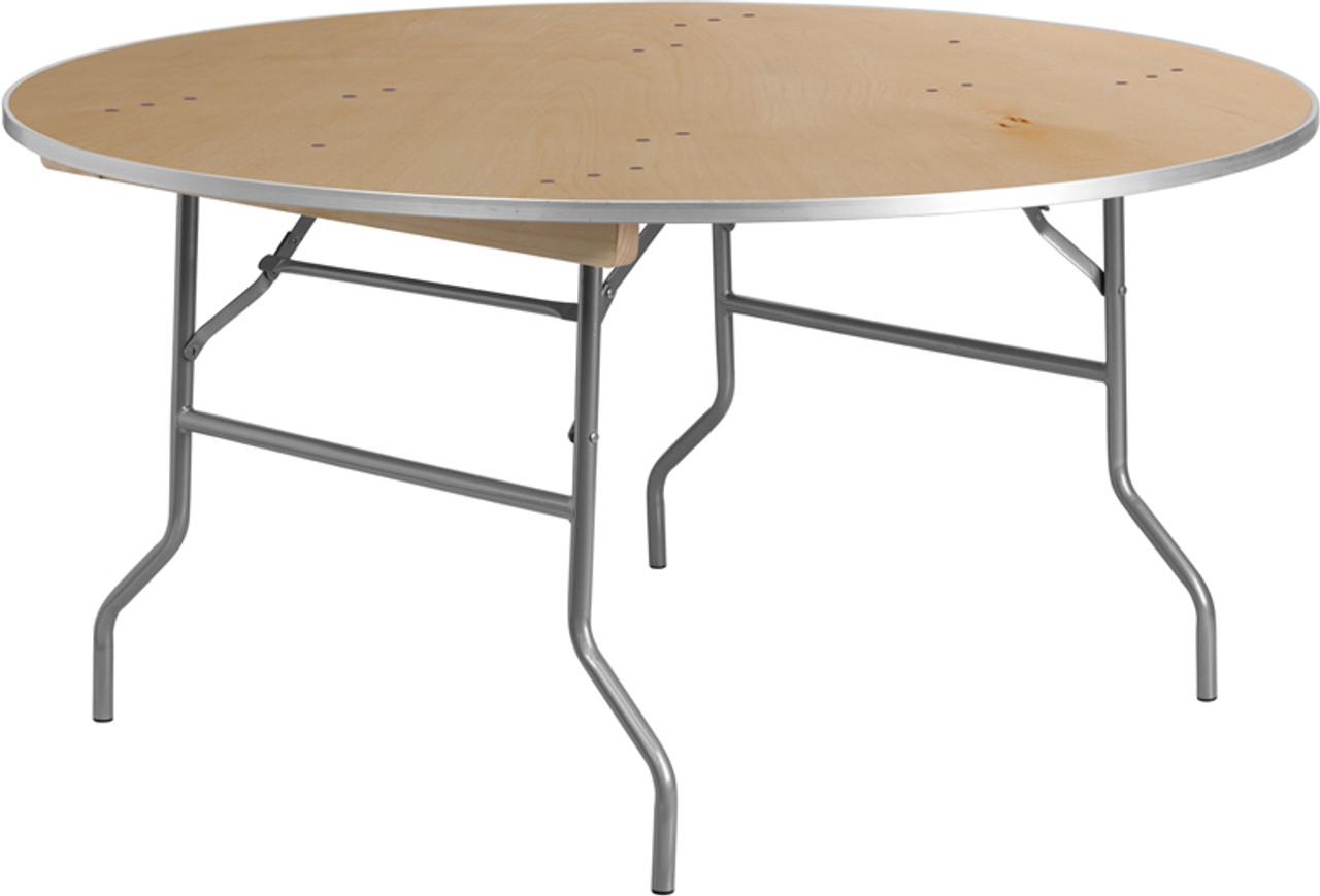 European Birch 72 6ft Round Wood Banquet Folding Table With Metal Edge Foldingchairsandtables Com
