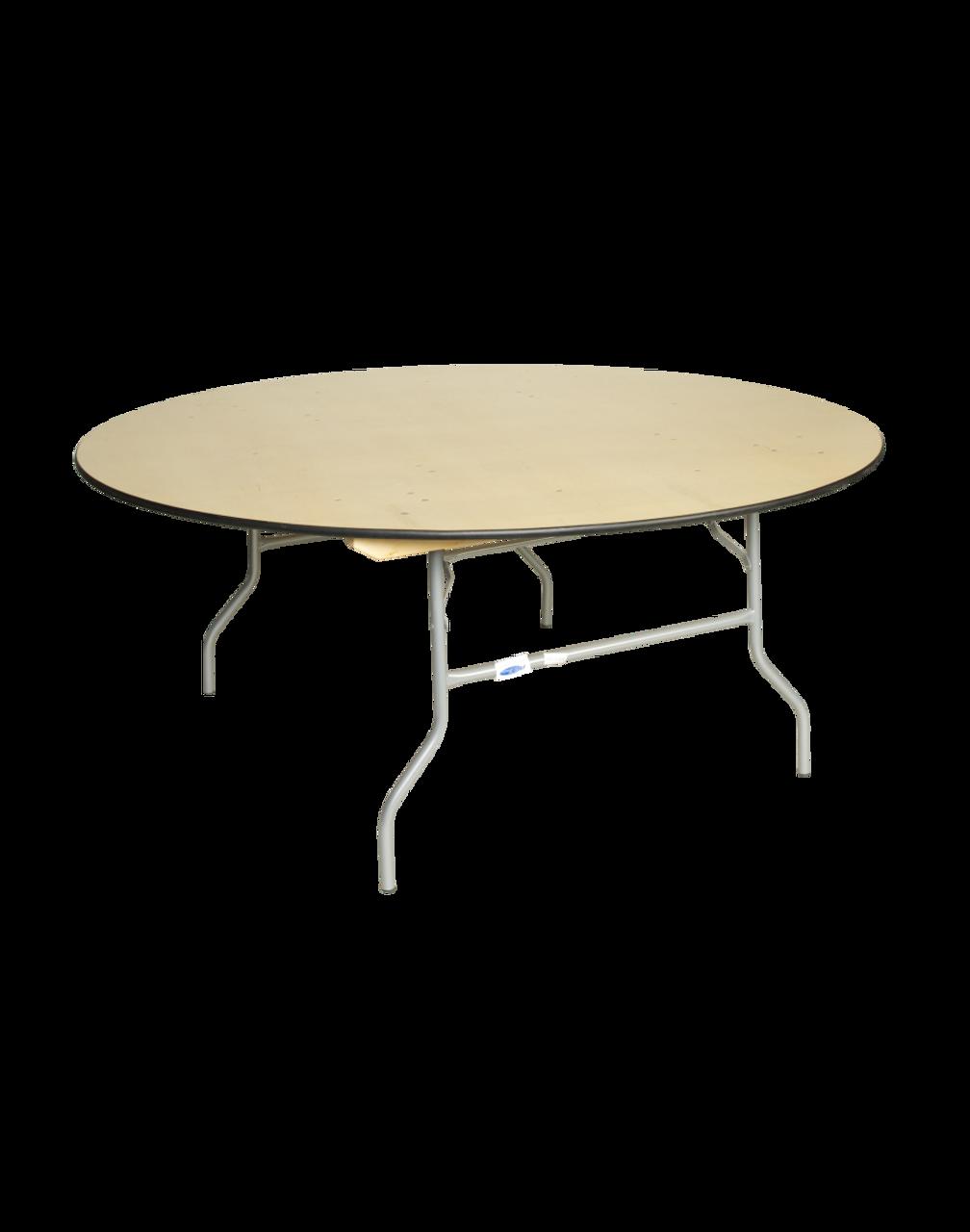 European Birch 72 6ft Round Wood Banquet Folding Table With Vinyl Edge Foldingchairsandtables Com