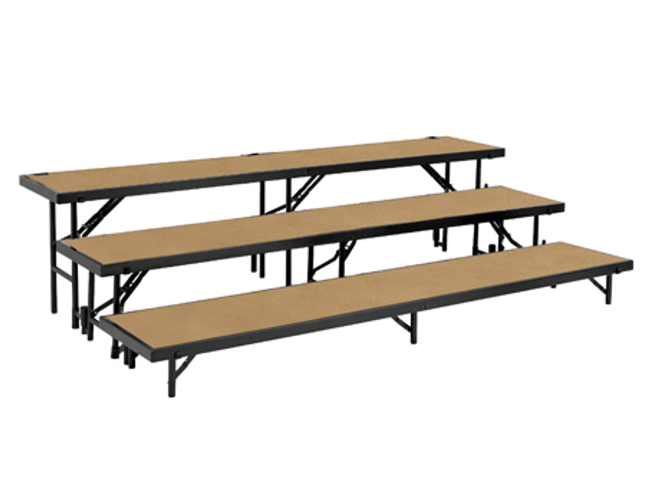 Multi Level Portable Stage Straight Riser With Hardboard Surface By National Public Seating Foldingchairsandtables Com