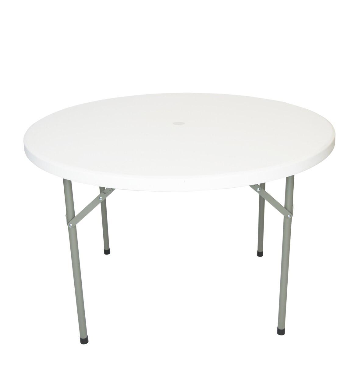 Rhinolite 48 4 Ft Round Plastic Folding Table With Umbrella Hole Solid One Piece Top Locking Steel Frame Foldingchairsandtables Com