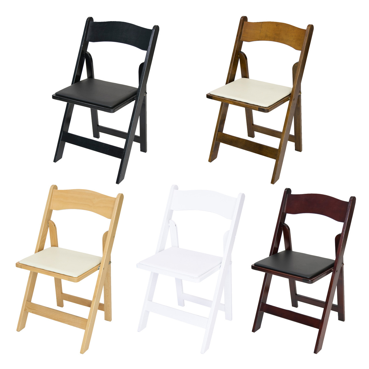 Classic Series Wood Folding Chair With Vinyl Padded Seat Foldingchairsandtables Com