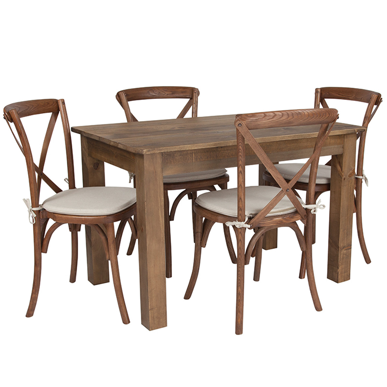 46 X 30 Antique Rustic Farm Table Set With 4 Cross Back Chairs And