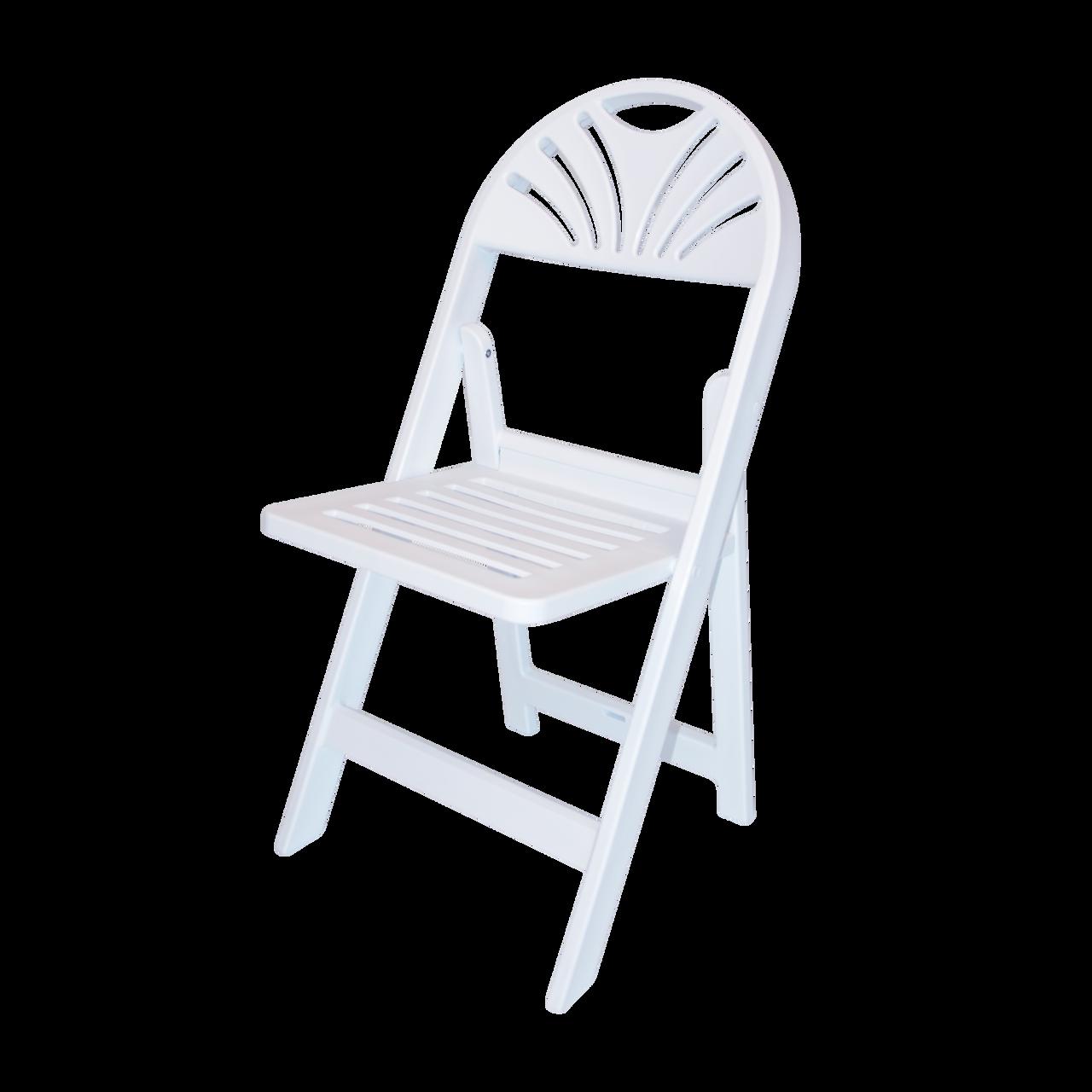 Rhino White Slatted Resin Fan Back Folding Chair - 100% Virgin Resin,  Resistant To Warping & Fading
