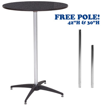 "30"" Round Premier Series Black Marble Laminate High Top Cocktail Table - Free Pole - Unbreakable Nylon Base with Self-Leveling Glides (PR-3883)"