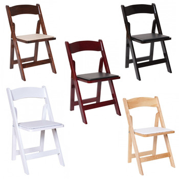 Premier Series Wedding and Event Wood Folding Chair with White Seat Pad
