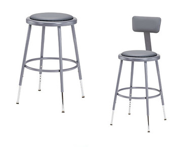 "Grey 19""-27"" High Adjustable Height Round Science Lab Stools With Padded Seat and Optional Backrest."