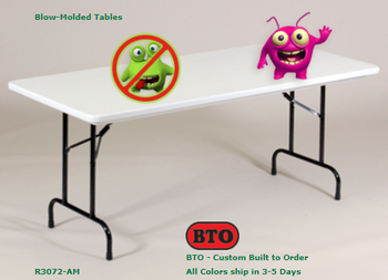 "Anti-Microbial 30""W x 72""L (6 ft) Blow Molded Plastic Folding Table by Correll-USA Made (CL-RS3072-AM)"