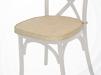 Polyester Cross Back Chair Cushion-Burlap
