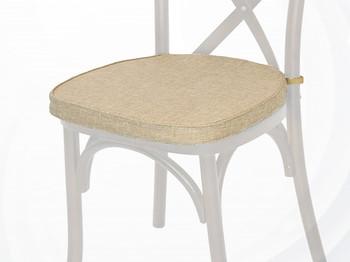 Polyester Cross Back Chair Cushion-Burlap