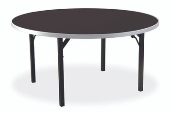 "Alulite 48"" Round Aluminum Folding Table with Individual Folding Legs-Walnut"