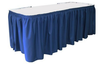 "30"" H Solid Polyester Shirred Table Skirting (By the Foot) Includes Velcro Clips"