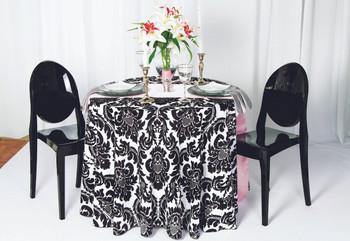Alterio Black & White Damask Tablecloth Linen