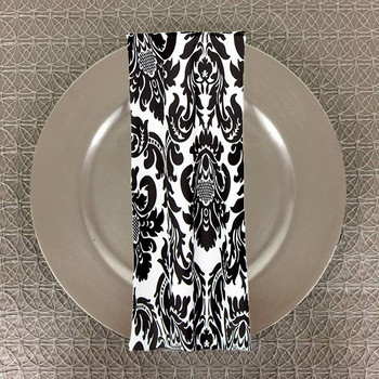 Dozen (12-pack) Alterio Black & White Damask Table Napkins (SS-NAPKIN-ALTERIO)