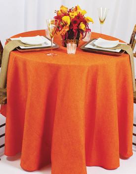 Basket Weave Rustic Faux Burlap Tablecloth Linen-Orange