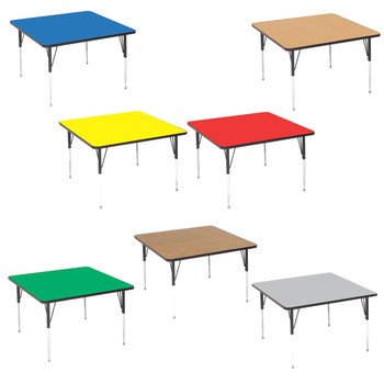 Correll Square High Pressure Laminate Daycare Activity Table with Adjustable Height