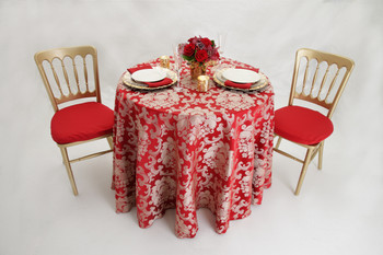 Beethoven Damask Tablecloth Linen-Crimson