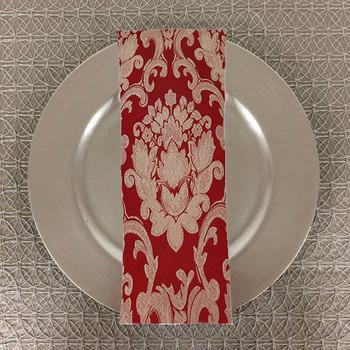 Dozen (12-pack) Beethoven Damask Table Napkins-Crimson