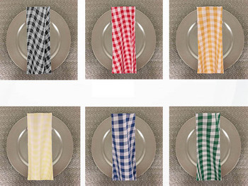 Dozen (12-pack)Checkered Print Spun Polyester Table Napkins