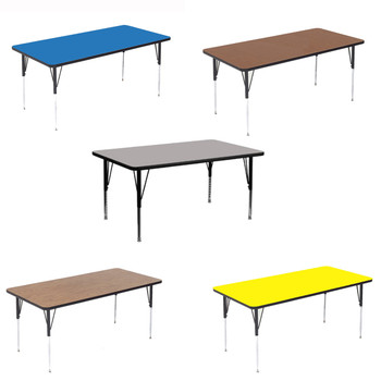 Correll Rectangular High Pressure Laminate Daycare Activity Table with Adjustable Height